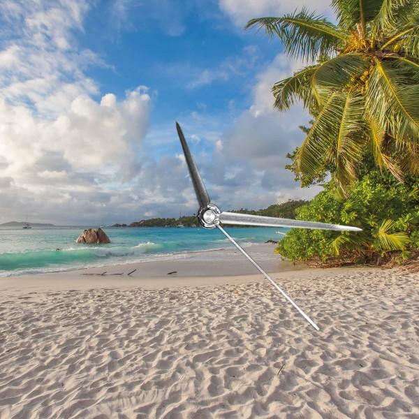 Strand und Palmen - Wanduhr