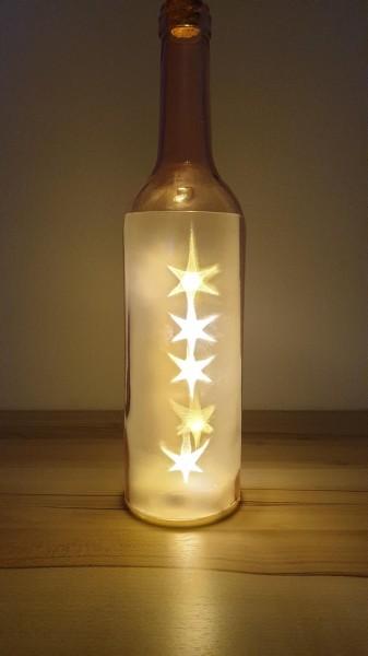 Leuchtsterne in der Flasche - rosa