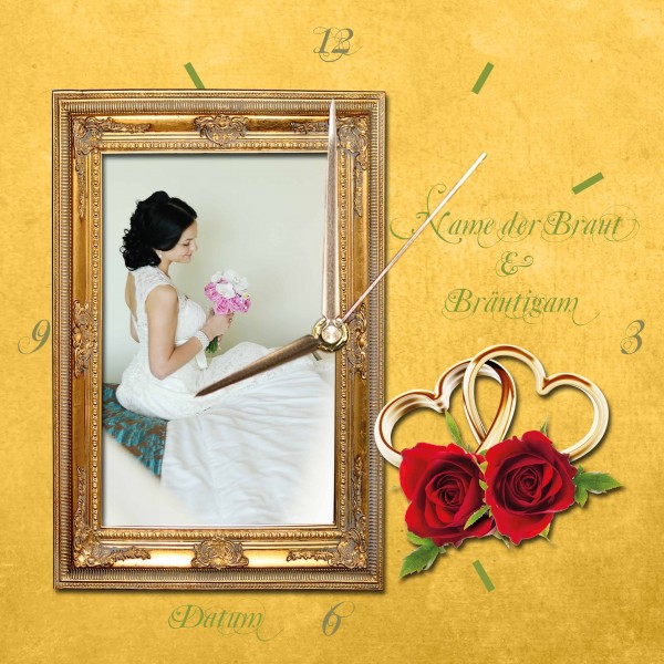 Hochzeits-Uhr Design 4 eckig