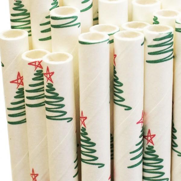 Papiertrinkhalme - Weihnachtsbäume