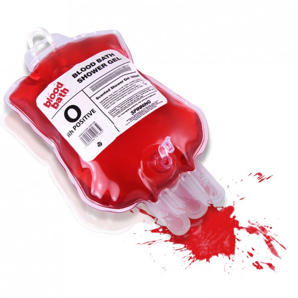"""Blut""-Duschgel im Blutspendebeutel"