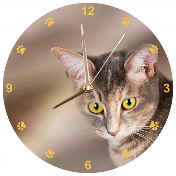 Braune Katze Uhr
