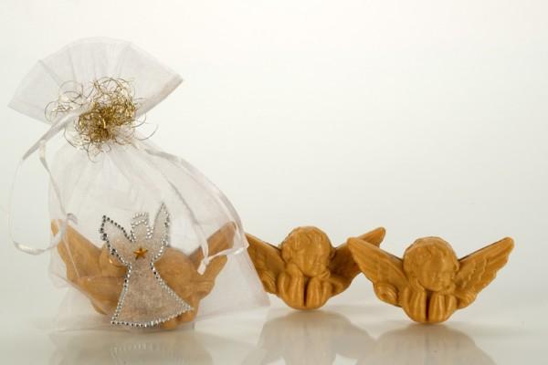 2 Engel-Glücksseifen im Geschenkebeutel