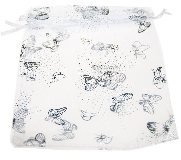 Organzasäckchen weiß mit silbernen Schmetterlingen