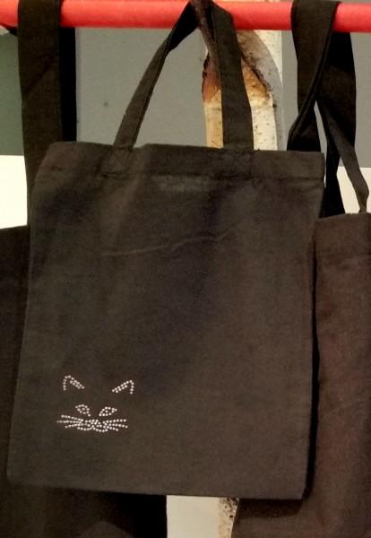 """Strass-Tasche """"Katze"""" 21x24 cm"""