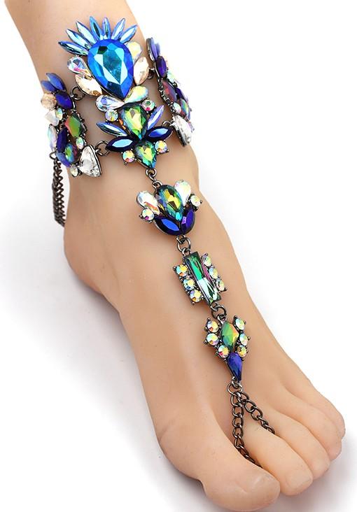 Hand- und Fußkette Ibiza - Blauschillernd