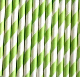 Trinkhalme aus Papier -Streifen Lindgrün
