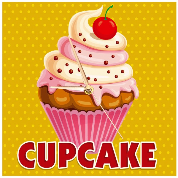 Vintage Cupcake - Uhr creme/rosa gestreift