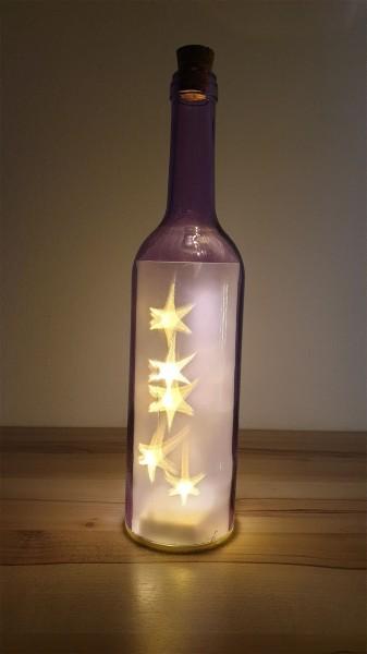 Leuchtsterne in der Flasche - violett