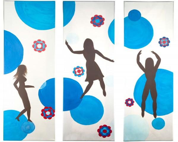 Triptychon - 70er Jahre - blau