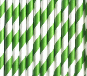 Trinkhalme aus Papier -Streifen Grasgrün