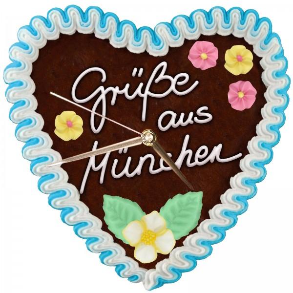 Design Wanduhr - Lebkuchenherz - Uhr Grüße aus München