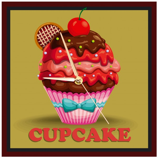 Vintage Cupcake - Uhr Schokoguss