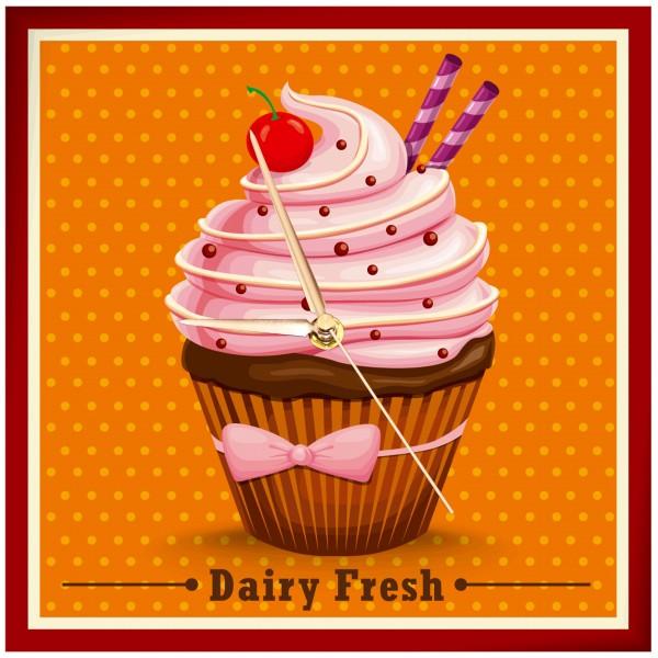Vintage Cupcake - Uhr Dairy Fresh