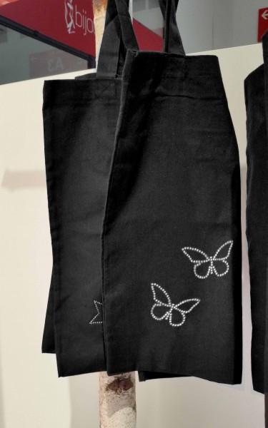 """Strass-Tasche """"Schmetterlinge"""" 38x42 cm"""