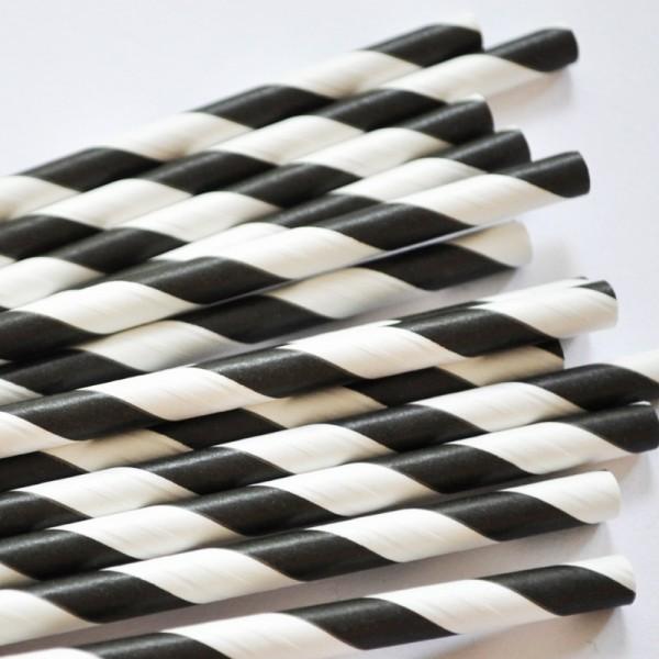 Trinkhalme aus Papier - Streifen Tintenschwarz
