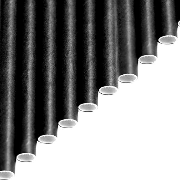 Trinkhalme aus Papier - Einfarbig schwarz - Tintenschwarz