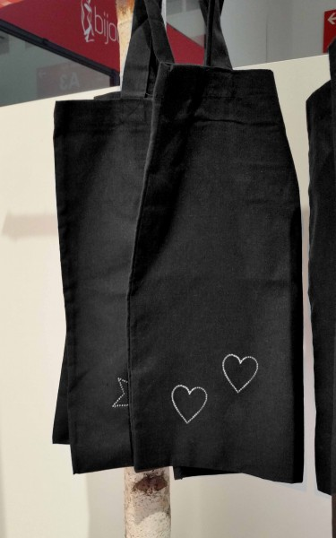 """Strass-Tasche """"Herzen"""" 38x42 cm"""