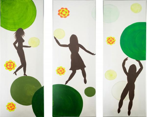 Triptychon - 70er Jahre - grün