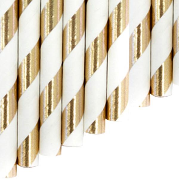 Knickhalme aus Papier - Gold gestreift