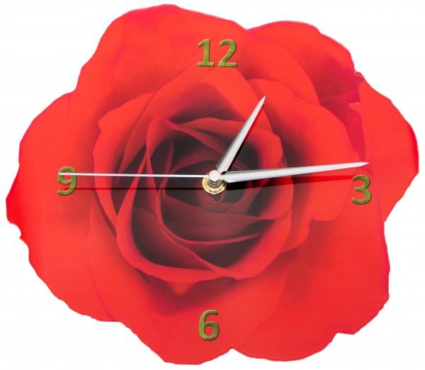 Design Wanduhr - Rosenblüte - Uhr rot