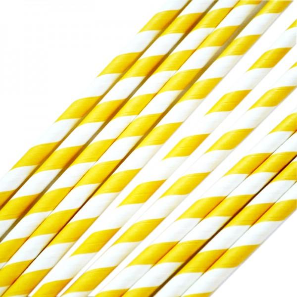 Trinkhalme aus Papier - Streifen Sommersonnengelb